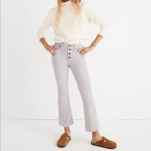 NWT MADEWELL Cali Button Front Boot Cut Cord Pants